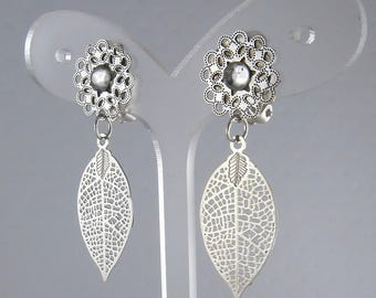 Earring Clip small leaf Silver (made in France)