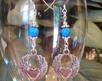 Angel love turquoise dangle earrings