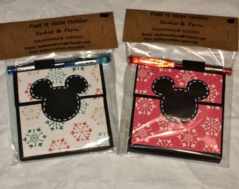 Christmas-Winter Post It Note Holder Pen - Stocking Stuffer-Gel Pen & Sticky Notes Pad included-Refillable- Mickey Inspired -Handmade-Gift