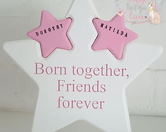 Twin stars, Handpainted star, twin gifts, new twins