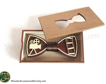 Wood bow tie Cinema Movie camera photo photography film wooden bowtie