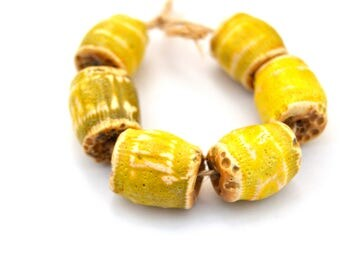 6 Yellow Ceramic Beads, Textured Beads, Rustic Beads, Handmade White Clay Beads, Jewelry Supplies, Full Of Space