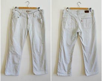 Mens Levis 570 W34 jeans straight leg fit sunbleached stonewash denim jeans almost white faded vintage 1990s waist 34 Medium