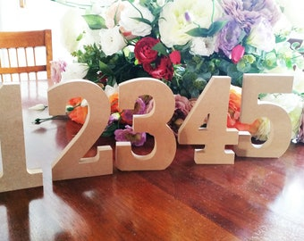 1 x 15cm Brown/Natural Wooden Table Numbers.