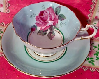 Pretty In Pink- and Green-Paragon Royal Warrant Teacup and Saucer