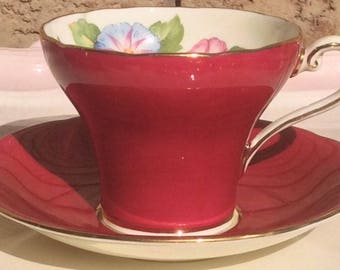 Pretty in Pink-Aynsley Corset Teacup and Saucer