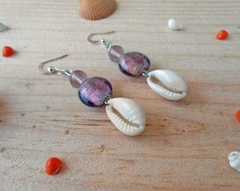 Earrings glass beads and shell