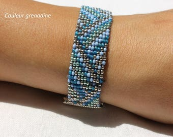 Woven bracelet with miyuki beads and seed beads, gift idea celebrating the grand mothers, Easter