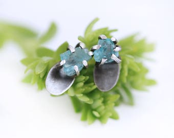 Raw Silver Stud Earrings Rough Apatite Gemstone Silver Earrings Raw Oxidized Silver Earrings Contemporary Oxidized  Earrings Gift for Her