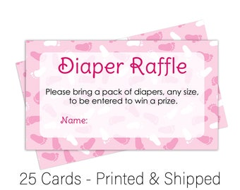 It's a Girl Diaper Raffle Tickets Girl Baby Shower Games - Diaper Raffle Inserts - Baby Shower Raffle - Pink Girl Theme (25 Cards)