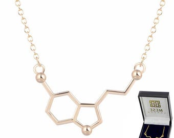 Serotonin Necklace Gold Plated Chemistry Structure Happiness Pendant - Elegant Gift Box