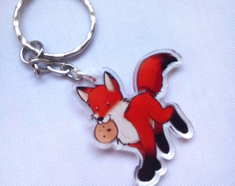 Cute Fox and Cookie Keyring