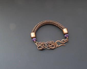 Amethyst bracelet, viking knit jewelry, amethyst jewellery, wire jewellery, copper bracelet, wire wrapped jewellery, torque bracelet