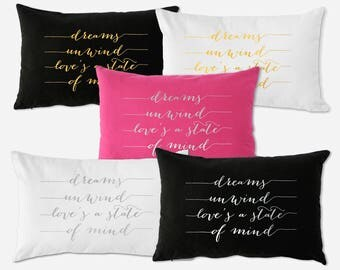 Stevie Nicks Dream Pillow, GOLD or Silver FOIL Lumbar Pillow, 100% Cotton Case, Dreams Unwind Rhiannon, Bohemian Quote Words Pillow Bedroom