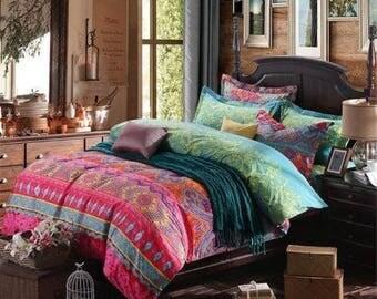 bohemian exotic style 5pc cotton queen bedding duvet u0026 cover set