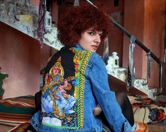 Vintage Denim Jacket Banna with Goddess Saraswati on the back side with tradicional Hindu touch