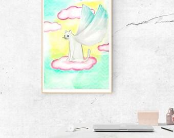 Illustrations cat illustration Angel, Angel, cat Angel, angel cat drawing illustration, cat, cat angel, watercolor, illustration, drawing