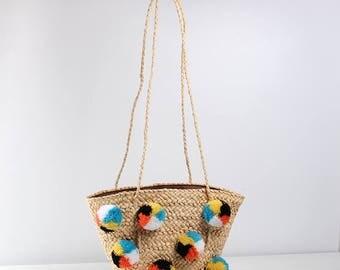 Beach Bags Pom Pom Handmade Handbags Straw Bag Summer Bohemia Holiday Shoulder Bags for Women Straw Tote