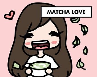 TEA MATCHA GREEN Stickers / planner stickers, tea time stickers, matche latte stickers, drinks stickers, coffee stickers, tea time / SD58