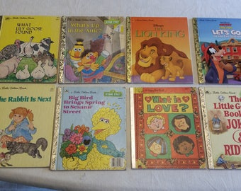 8 vintage childrens story books - little golden - happy day book - first edition - sesame disney mickey goose stories jokes riddles rabbit