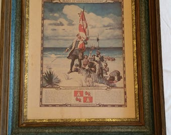 vintage framed cardboard print - columbus discovers america - n c wyeth picture litho - historic flags usa american americana
