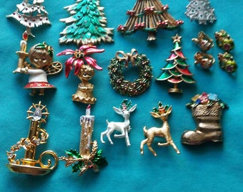 Vintage Collection of Thirteen Christmas Holiday Brooches