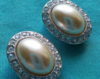 Vintage Pair Of Kenneth J Lane Faux Pearl and Rhinestone Clip On Earrings