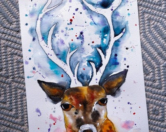 A3 A Winters Stag. Original watercolour painting.