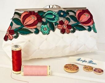 Wedding Bag - Bridal - Clutch Bag - Bride - Bridesmaid - Hand Bag - Evening Bag - Handmade bag featuring hand-sewn Swarovski pearls and trim