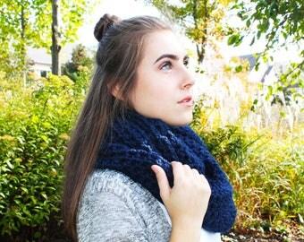Navy Blue Infinity Scarf, infinity scarf, cowl scarf, navy blue cowl, blue scarf, handmade scarf, knitted scarf
