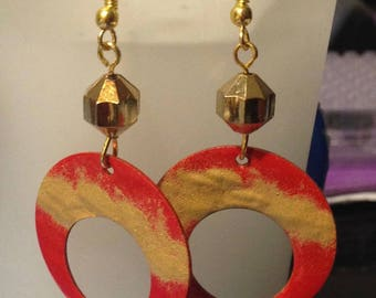 Earrings with American Golden hooks and pendants disco copper glazed by hand