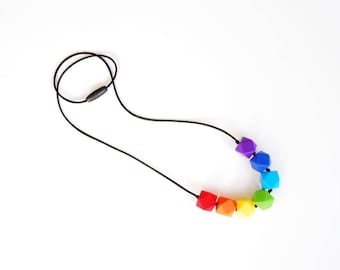 Rainbow Baby Teething Necklace for Mom/ Nursing Necklace/Sensory Necklace/Chewelry/Chew Beads