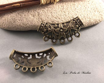 1 loop filigree flowers - 38x22mm - Bronze pendant - ref:t92 - C084