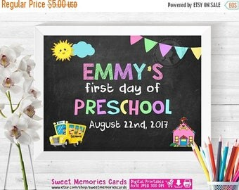50% OFF SALE First day of preschool sign chalkboard, First Day of School Sign, First Day of School Chalkboard Sign Printable Photo Prop Grad