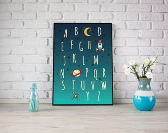 Outer Space Alphabet Moon Stars Planets Spaceship Letters Kids Room Wall Art Nursery Print