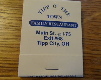 Vtg collectible Matchbooks Matches Tipp of the Town Tipp City Ohio family restaurant