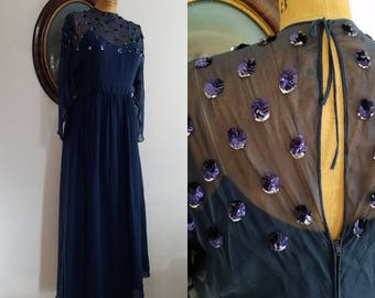 REDUCED Vintage 1960s Chiffon gown | 60s sequin illusion neck