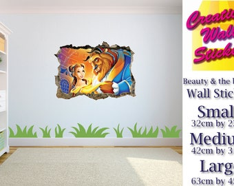 Beauty and the beast wall sticker hole in the wall effect Bedroom wall decal.