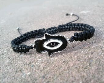Black Hamsa bracelet Black Shamballa bracelet Yoga gift for Men Christmast gift Black Hamsa jewelry Spiritual bracelet for Men Xmas gift