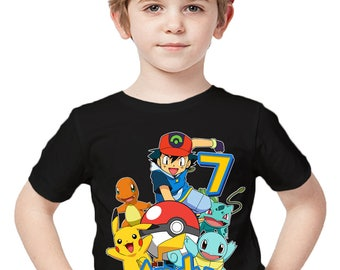 Pokemon Birthday Shirt Add Name & Age Pokemon Custom Birthday Party TShirt