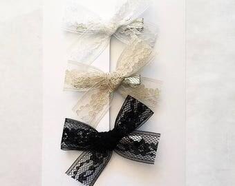 lace bow    headband or clip