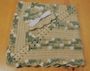 NEW Handmade Crochet Baby Blanket and Hat/Beanie Set - Tan & Camo Striped - A Wonderful Baby Shower Gift!! - SEE NOTE!