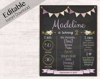 Birthday Chalkboard Print, Editable Text, DIY, Art Print, Chalkboard Sign, Purple, INSTANT DOWNLOAD Chalkboard Birthday Party Poster