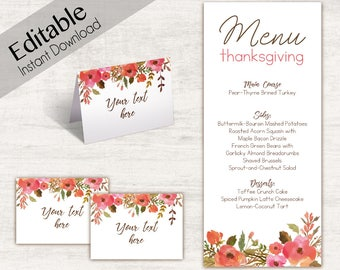 Menu Thanksgiving template, Editable Menu, Editable Tent Card, Place Card, Buffet Card Template, Thanksgiving Template