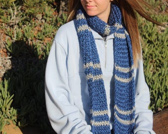 Blue & Silver/Bronze Knitted Scarf - Handmade
