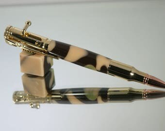 30 Cal bolt action pen with camouflage acrylic design and 24k gold hardware,  Handmade Pen.