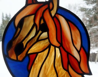 Stained Glass Sun catcher, Horse.  Handmade, copper foil with black patina