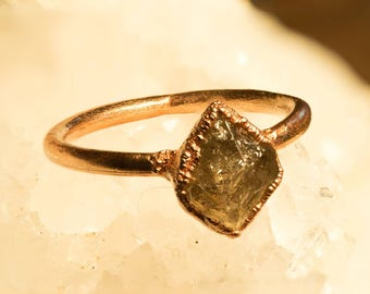 Copper ring with Herkimer diamonds/rough/wedding/engagement ring