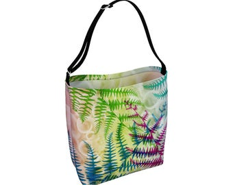 Fern Tote Bag, Large Crossbody Totebag, Adjustable Strap, Big Library Book Bag, Carry All, Beach Yoga, Big Grocery Bag, Eco Friendly, Bright