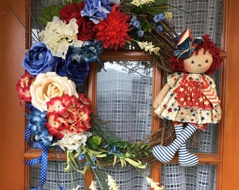 American Doll Wreath Fourth Of July Memorial Day Labor Day patriotic